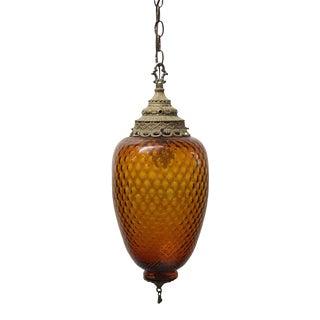 1970s Amber Honeycomb Murano Glass Pendant Light For Sale