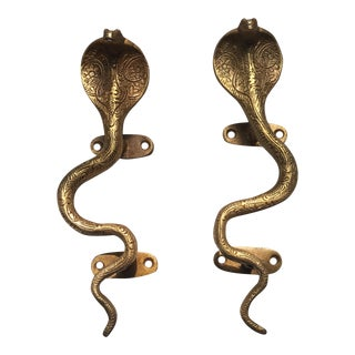 Stunning Hollywood Regency Gold Cobra Door Handles- a Pair For Sale