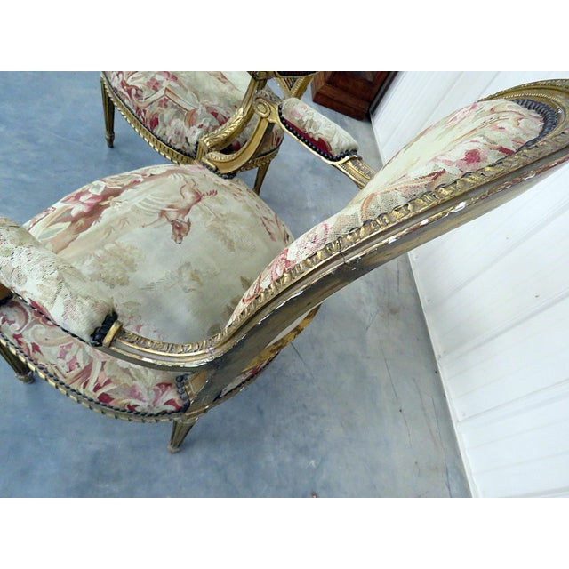 Gold Pair of French Louis XVI Style Needlepoint Fauteuils For Sale - Image 8 of 11