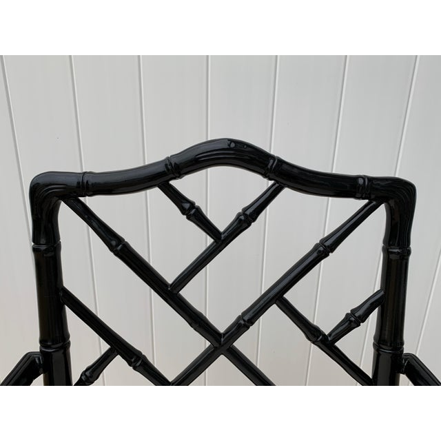Asian Jonathan Adler Black Lacquered Faux Bamboo Chippendale Chairs, Pair For Sale - Image 3 of 13