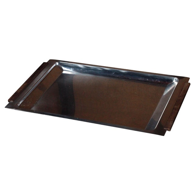 Vintage Danish Modern Stainless Steel & Teak Tray - Image 1 of 8