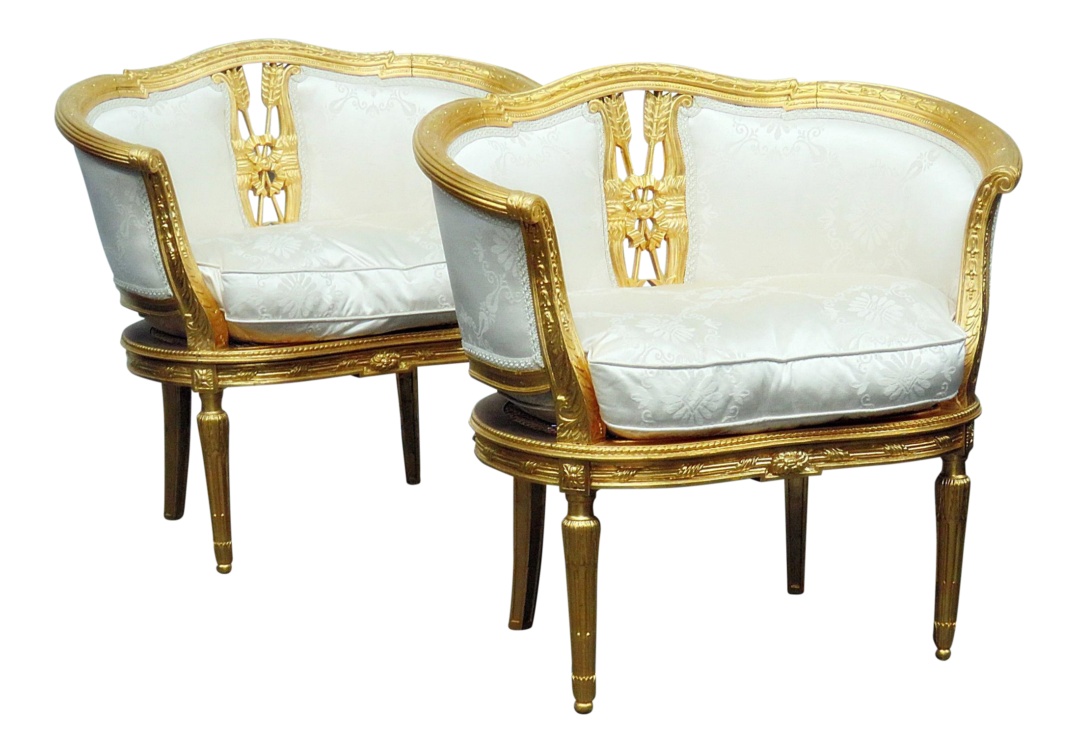 Hollywood Regency Style Gilt Marquis Chairs  A Pair For Sale Regency Style Furniture E82