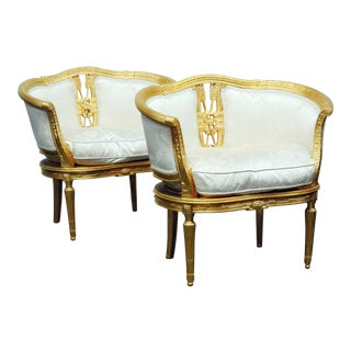 Hollywood Regency Style Gilt Marquis Chairs - A Pair