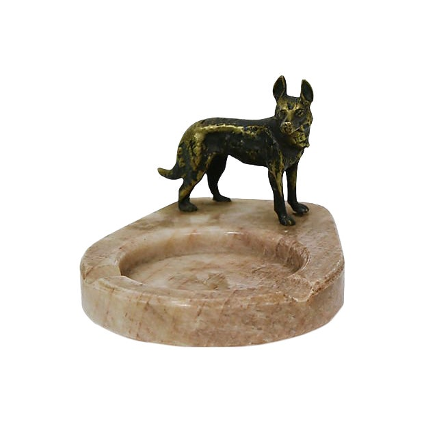 Bronze German Shepard on Marble Ashtray For Sale