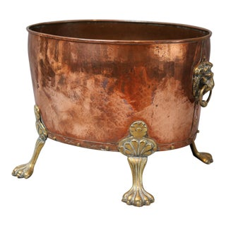 Antique English Hammered Copper Log Bin / Wine Cooler / Jardiniere