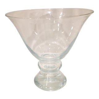 20th Century Hand Blown Crystal Pedestal Centerpiece Bowl For Sale