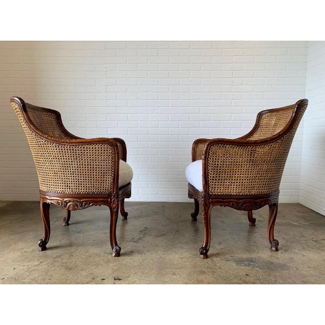 French Curved Double Cane Lounge Chairs- a Pair For Sale - Image 3 of 13