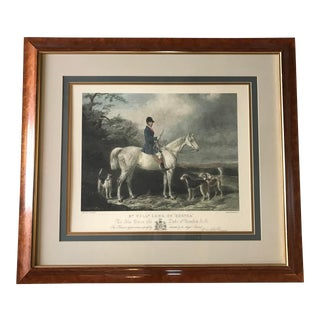 20th Century English Traditional Fox Hunt Colored Engraving With Tiger Maple Frame For Sale