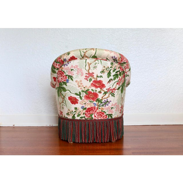 French Napoleon III Style Floral Boudoir Chair With Bullion Fringe For Sale - Image 3 of 12