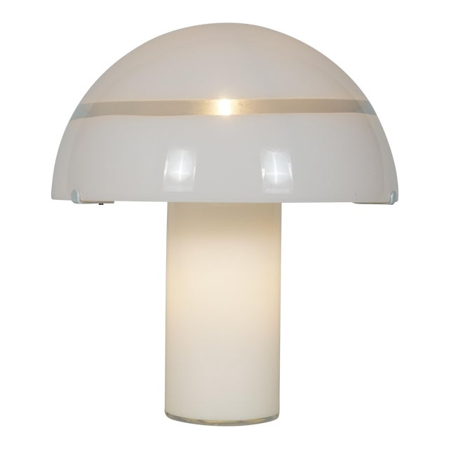 Modern White Murano Glass Mushroom Lamp Illuminated From Within For Sale