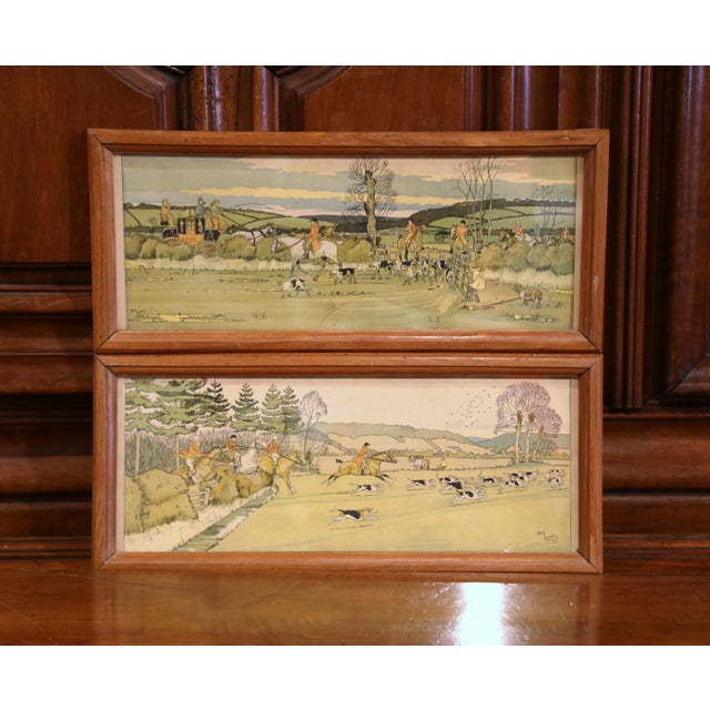 Pair of 19th Century English Painted Hunt Scenes Watercolors in Walnut Frames For Sale - Image 10 of 10