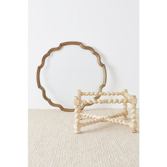 Hollywood Regency Baker Barley Twist Brass Tray Coffee Cocktail Table For Sale - Image 3 of 13