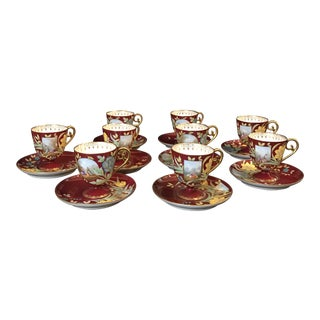 Antique Red Ovingtons Chocolate Cups and Saucers - Service for 9 For Sale