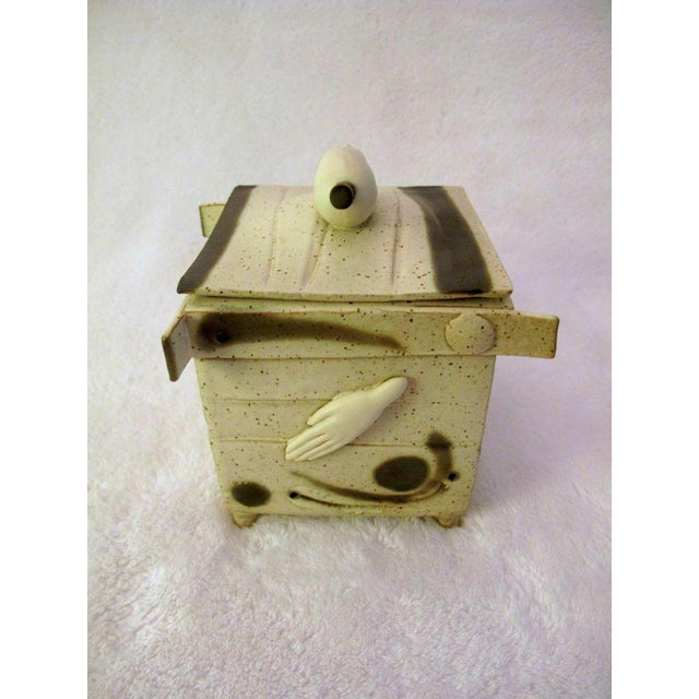 Ceramic Kostas Ulevicius Tribal Spiritual Sculptural Face Pottery Box W/Lid For Sale - Image 7 of 10