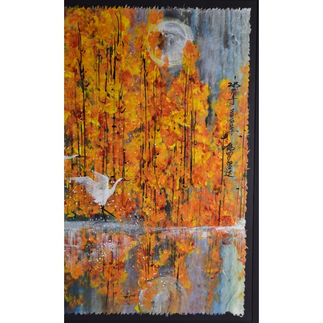 Paint Chinese Yongqun Guo Painting, Cranes Flying Against Autumn Trees For Sale - Image 7 of 13