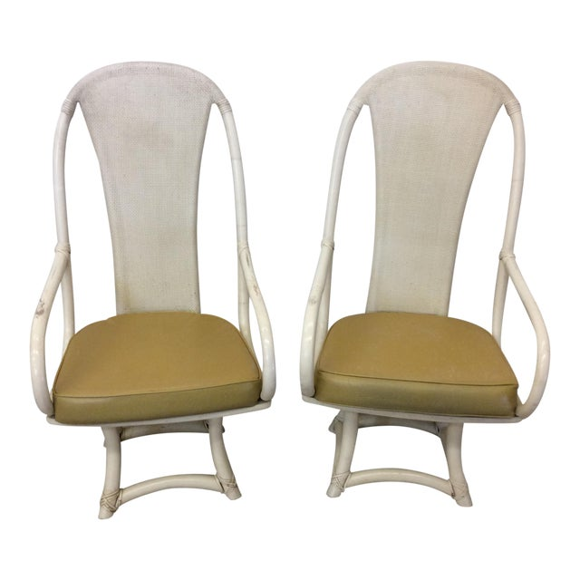 Funky High Back Bamboo Lounge or Dining Chairs For Sale