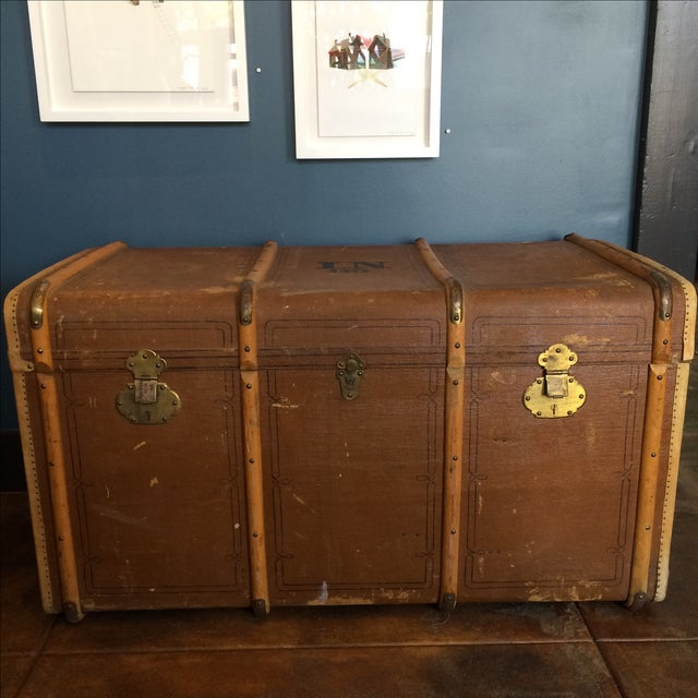 Traditional Leather Steamer Trunk by Albert Rosenhain For Sale - Image 3 of 11