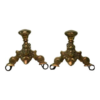 A Pair Of Small Dutch Brass Andirons 17th Century For Sale