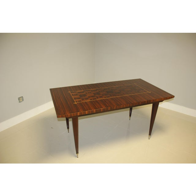 1940s Art Deco Exotic Macassar Ebony Writing Desk/Dining Table For Sale In Miami - Image 6 of 13