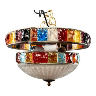 Mid Century Wall or Ceiling Fixture With Bands of Multi Colored Glass For Sale