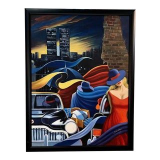 New York City Manhattan Scene With the Twin Towers Painting For Sale