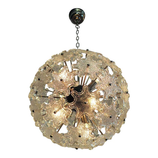 Murano Last Call 1970s Murano White Floral Sputnik Chandelier For Sale - Image 4 of 4