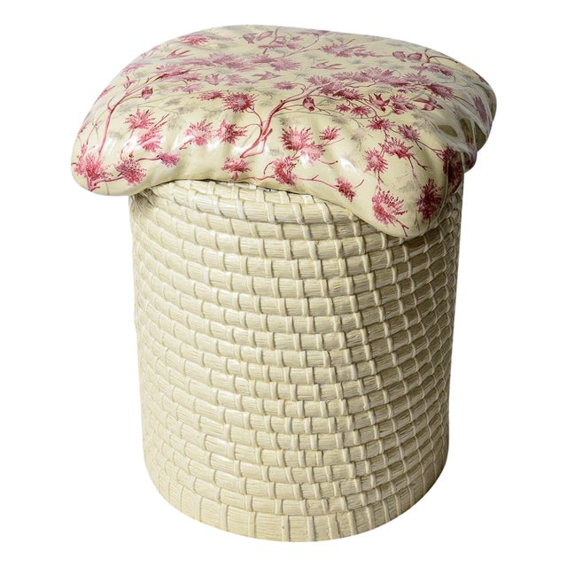 Charming English and Rare Trompe L'oeil Antique Ceramic Garden Stool C.1890-1920. The trompe l'oeil pillow is attached to...