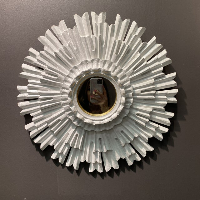 Hollywood Regency White Lacquered Sunburst Mirror For Sale - Image 9 of 10