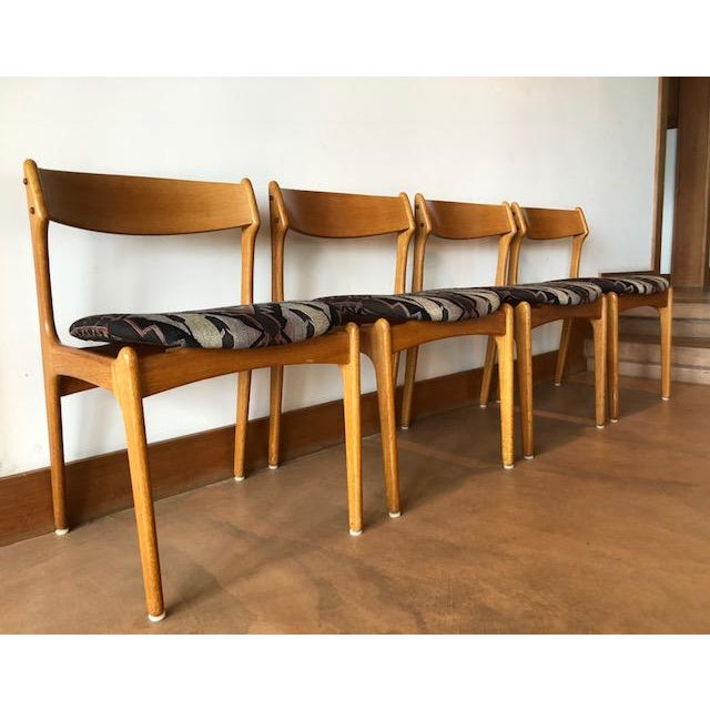 Mid-Century Upholstered Teak Chairs - Set of 4 For Sale - Image 5 of 8