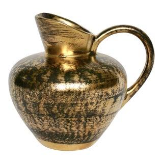 1960s Vintage Stangl Black & Gold Pottery Vase For Sale
