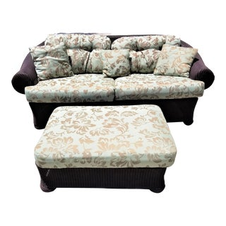 Lloyd Flanders Loom Wicker Weather Resistant Sofa with Ottoman Table For Sale
