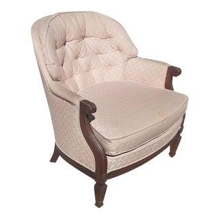 Vintage Pink Hollywood Regency Tufted Barrel Back Lounge Arm Chair For Sale