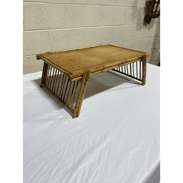 Super cute and functional vintage burnt bamboo breakfast in bed tray with folding legs. Top is woven wicker and legs are...