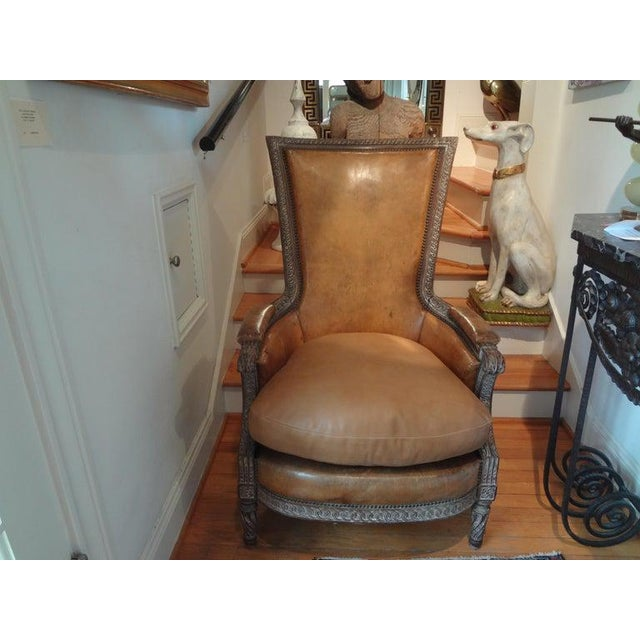 Antique French Louis XVI Style Bergere With Distressed Leather Upholstery For Sale - Image 9 of 13