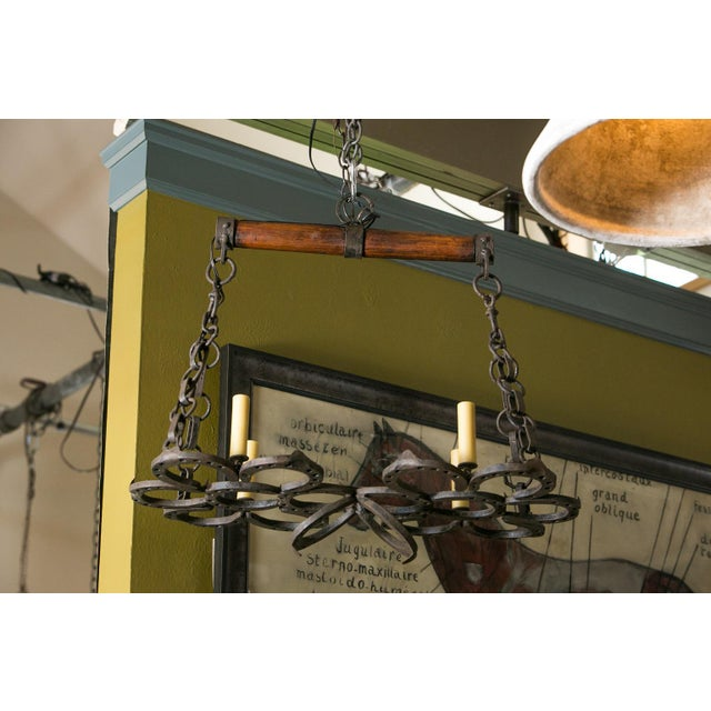 Wrought Iron Horseshoe Chandelier For Sale - Image 4 of 7