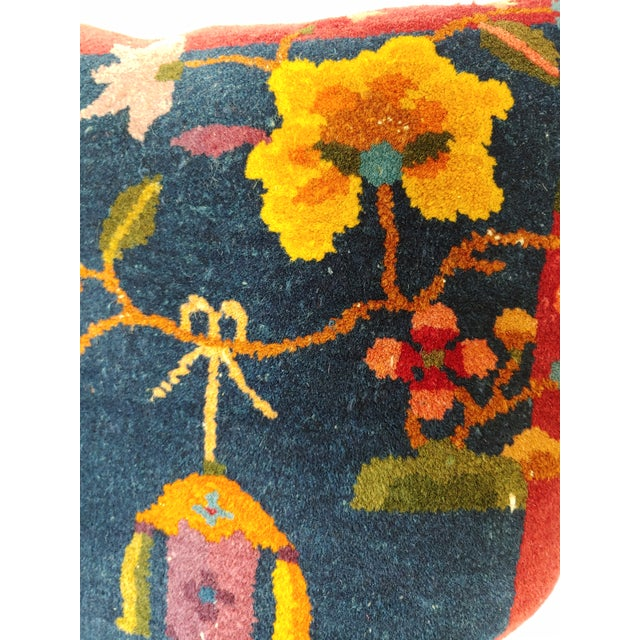 Blue 1920s Chinese Art Deco Nichols Rug Custom Pillow For Sale - Image 8 of 13