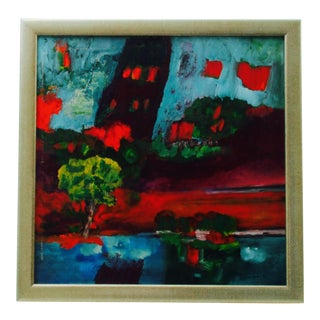 Vintage Huguette Fisher Painting on Canvas For Sale