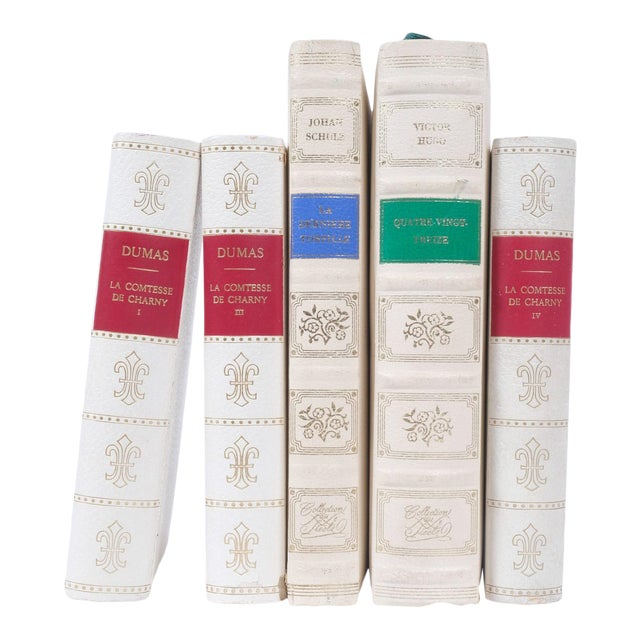French Leather Bound Books S/5 For Sale
