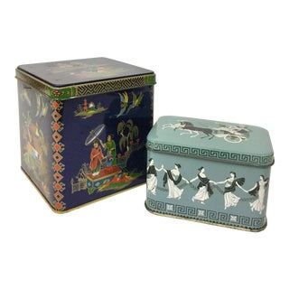 Vintage Metal Tea Canisters - A Pair For Sale