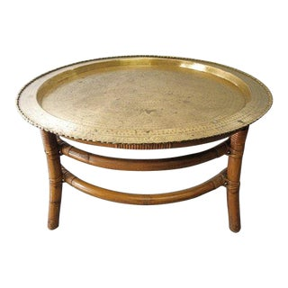 1960s Moroccan Brass Tea Table Coffee Table in Bamboo Frame For Sale