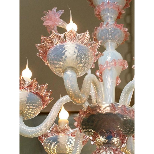 Pink Glass Chandelier Luxury pink and white murano blown glass chandelier with flowers pink and white murano blown glass chandelier with flowers circa 1940 image 5 of audiocablefo