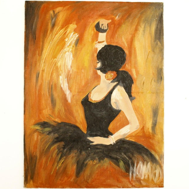 Vintage Original Signed Oil Painting of Spanish Ballerina For Sale