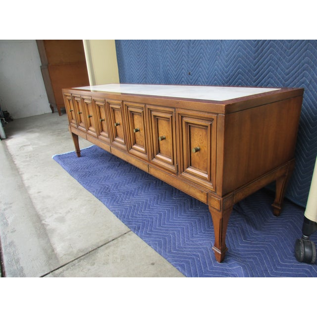 1970s Hollywood Regency Weiman Burl Wood Console Cabinet For Sale - Image 6 of 12