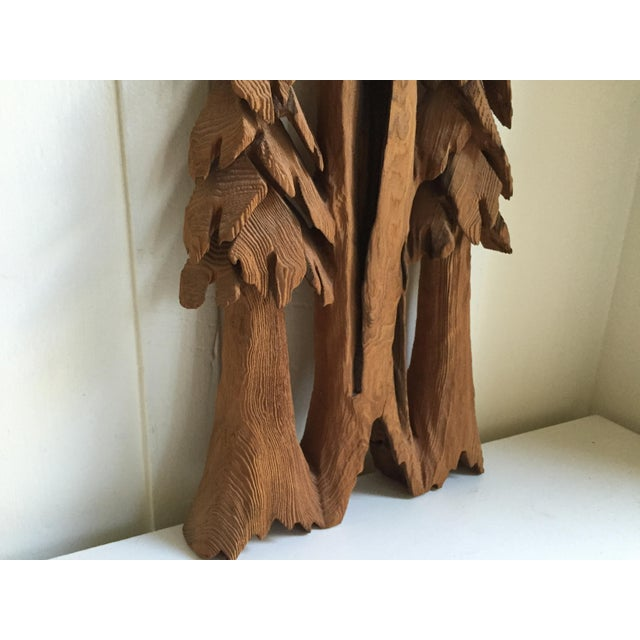 Brown Vintage Rustic Redwood Carving Wall Hanging For Sale - Image 8 of 8