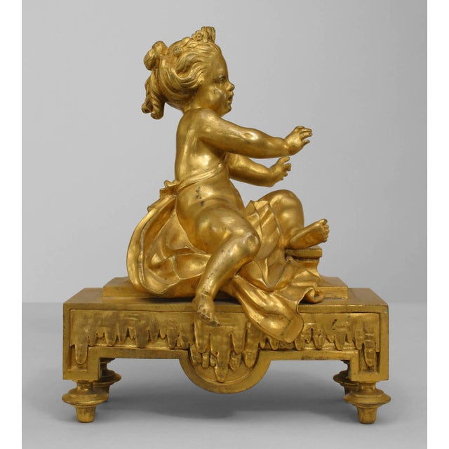 Pair of 19th Century French Gilt Bronze Putti Andirons For Sale - Image 4 of 6