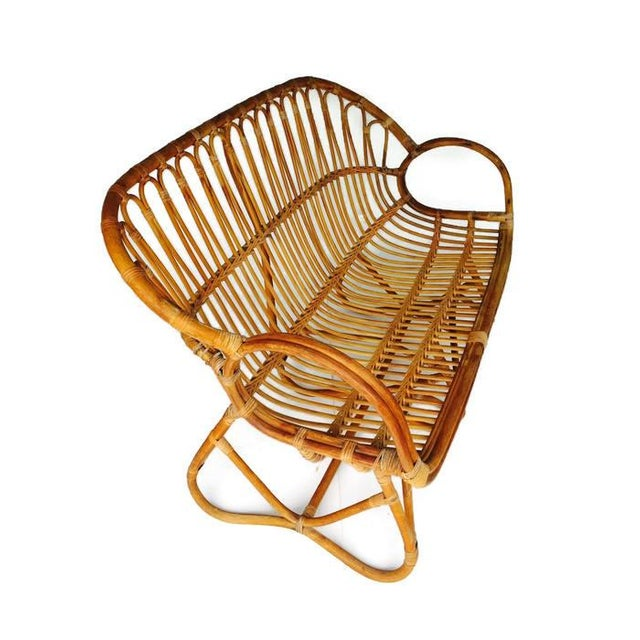 Vintage Sculptural Bamboo Settee Franco Albini Style Love Seat For Sale In Richmond - Image 6 of 7