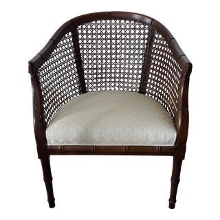 Mid-Century Modern Cream Cane & Wood Barrel Back Arm Chair For Sale