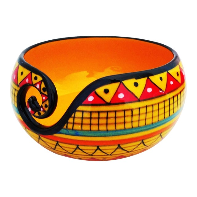 African Handcrafted Yellow Ceramic Knitting Yarn Bowl Holder For Sale