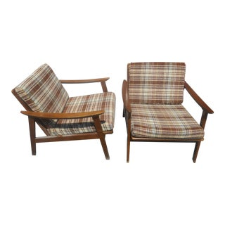 1960's Mid-Century Danish Modern Lounge Chairs-A Pair For Sale