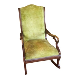 Antique Solid Wood Rocking Chair For Sale
